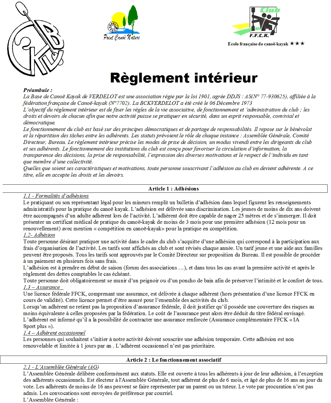 R glement int rieur du bckv for Reglement interieur ce